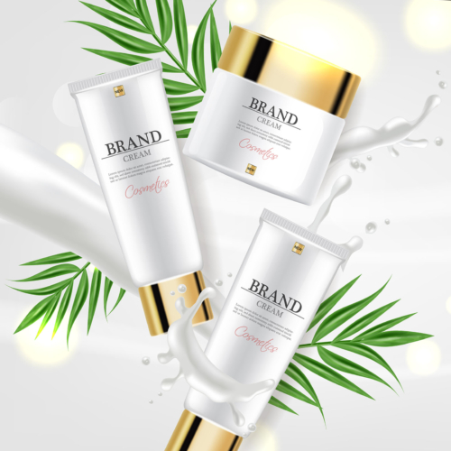Cosmetics cream moisturizer hydration Vector realistic. Product packaging mockup. Detailed white bottles with label design. 3d template illustration